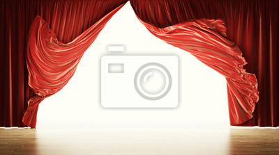 Sticker Empty theatrical stage with moving red velvet curtains. Clipping path included.