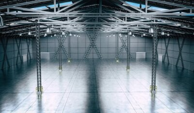 Sticker Empty warehouse with several pillars and hanging lamps - 3D illustration
