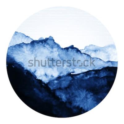 Sticker Encre asiatique traditionnelle avec des montagnes. Illustration de l'art vectoriel
