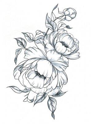 Sticker Encre de dessinés à la main ligne art et aquarelles pivoines dans un style graphique. Croquis de tatouage féminin, floraison florale de printemps, illustration en noir et blanc.