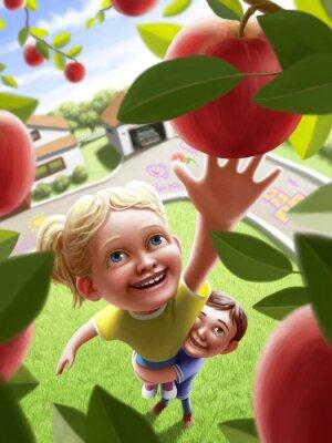 Sticker Enfants, Atteindre, pomme
