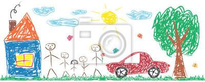 Sticker Enfants dessinant joyeuse famille, maison, arbre, voiture, soleil. Illustration vectorielle isolé coloré