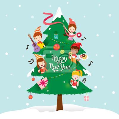 Bonne Annee Joyeux Noel.Sticker Enfants Et Decorations Sur Nouvel An Arbre Bonne Annee Joyeux