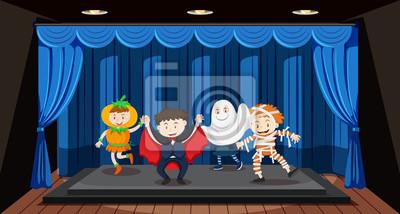 Sticker Enfants faisant des jeux de rôle sur scène