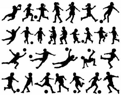 Sticker Enfants jouant silhouettes vecteur de football