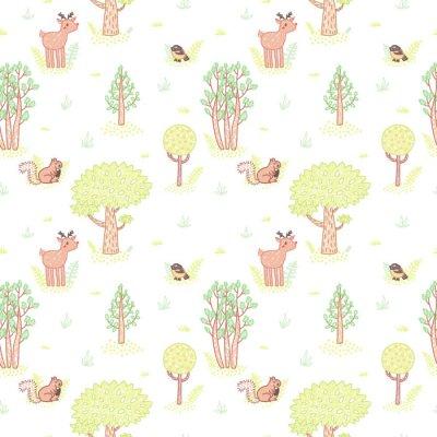 Sticker Enfants style dessin mignon doodle arbres vecteur modèle sans soudure.