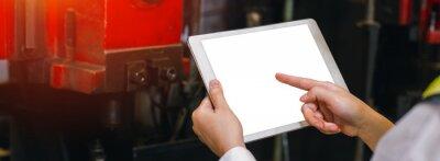 Sticker Engineer worker use digital tablet display blank white screen.