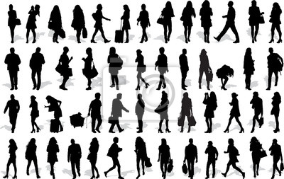 Sticker Ensemble, 50, vecteur, silhouettes, gens, action