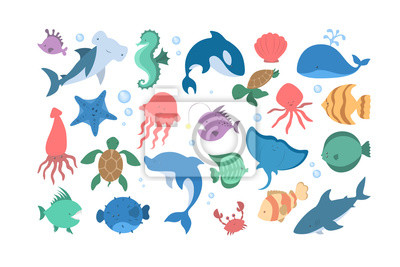 Sticker Ensemble d'animaux océaniques et marins. Collection de créature aquatique