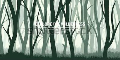 Sticker Ensemble d'arbres Forêt de pins sauvages, fond de nature. Wood.Vector illustration.Banner. Arbre vert foncé. Paysage. Herbe, Prairie.