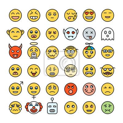 Ensemble d'emoji de couleur jaune détaillée. Smileys de style moderne. Différents visages d'émotions. Collection d'émoticônes.