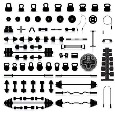 Sticker Ensemble d'équipement de sport, illustration vectorielle.