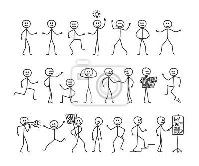 Sticker Ensemble d'homme dessin, différentes poses, pictogramme de bonhomme allumette. Dessin à main levée. Illustration vectorielle Isolé sur fond blanc