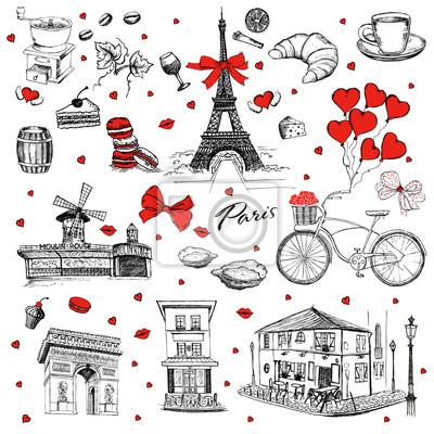 Sticker Ensemble d'icônes françaises dessinés à la main, illustration de croquis de Paris