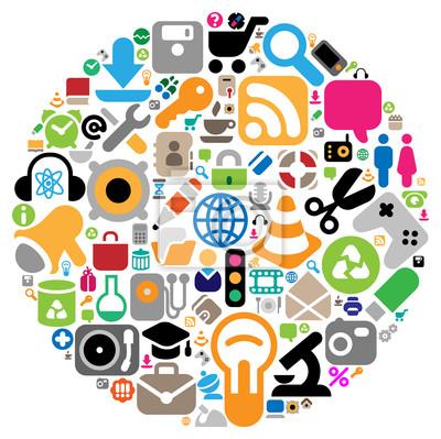 Ensemble d'icônes pour le site Web, les affaires, la science et la musique