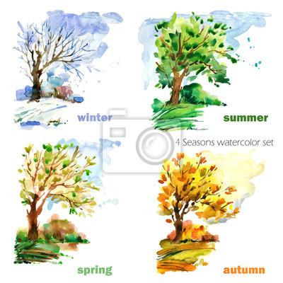 Sticker ensemble d'illustration aquarelle quatre saisons
