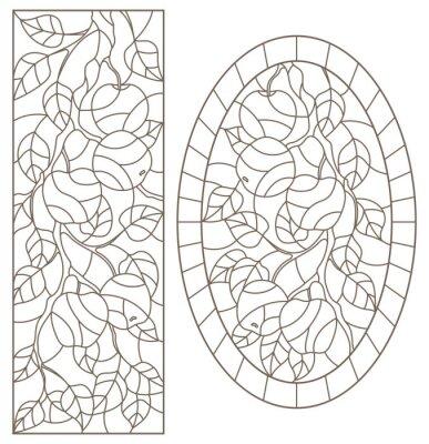 Sticker Ensemble d'illustrations de contour de vitraux avec des branches d'arbres, branche de pommier, contours sombres sur fond blanc, images rectangulaires et ovales
