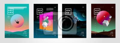 Sticker Ensemble d'illustrations de dégradé de vecteur abstraites, arrière-plans pour la couverture de magazines sur les rêves, le futur, le design et l'espace, fantaisie, affiches folles