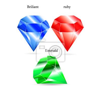 Ensemble de 3 brillants rubis diamant émeraude