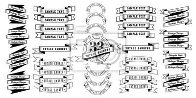 Sticker Ensemble de 33 rubans de bannière vintage. Bannières rétro isolés sur fond blanc. Illustration vectorielle
