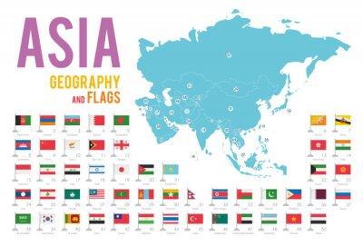 Sticker Ensemble de 50 drapeaux de l'Asie isolé sur fond blanc et carte de l'Asie avec les pays situés sur elle.