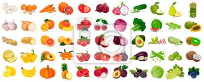 Sticker Ensemble de baies et de fruits, de légumes sur un fond blanc. Icône de vecteur