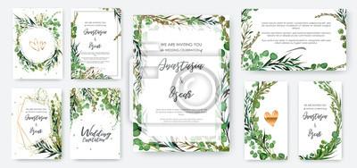 Sticker Ensemble de cadre d'invitation de mariage; fleurs, feuilles, aquarelle, isolé sur blanc. Guirlande esquissée, guirlande florale et d'herbes avec vert, couleur de verdure. Dessinés à la main Vector sty