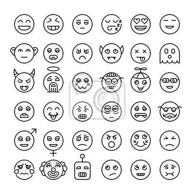 Ensemble de contour détaillé emoji. Smileys de style moderne. Différents visages d'émotions. Collection d'émoticônes.