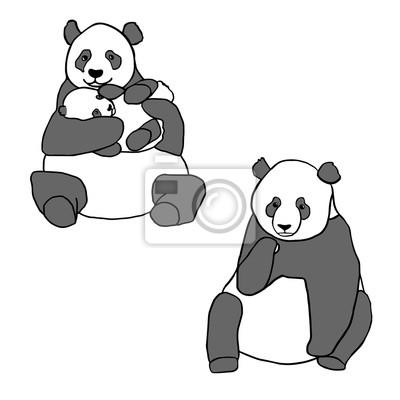 Sticker Ensemble de deux pandas mignons et un petit. Main, dessiné, vecteur, illustrations, isolé, blanc Mignon, mère, panda, peu, bébé, séance, panda