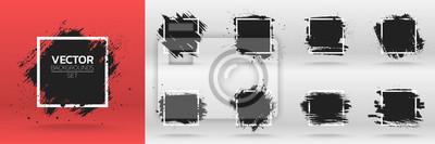 Sticker Ensemble de fond grunge. Brosser le trait d'encre de peinture noire sur le cadre carré. Illustration vectorielle