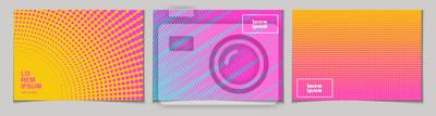 Sticker Ensemble de fonds abstraits horizontaux avec motif de demi-teintes aux couleurs néon. Collection de textures dégradées avec ornement géométrique. Modèle de conception de flyer, bannière, couverture, a