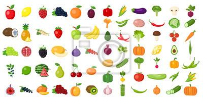 Sticker Ensemble de fruits et de légumes. Différents légumes et fruits colorés. Tous les types de vegi vert et de fruits pour la cuisson des repas, la plantation dans le jardin.