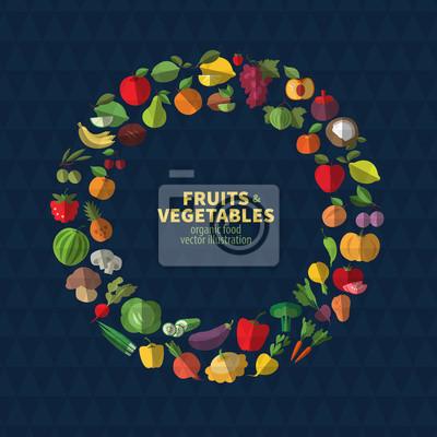 Ensemble de fruits et légumes icônes