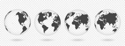 Sticker Ensemble de globes transparents de la terre. Carte du monde réaliste en forme de globe avec texture transparente et ombre