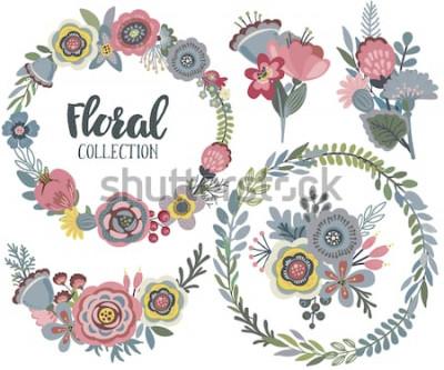 Sticker Ensemble de graphiques vectoriels de belles fleurs, couronne florale, bouquets. Collection colorée pour les voeux, cartes Save the Date, invitations de mariage