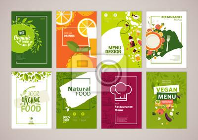 Sticker Ensemble de menu de restaurant, brochure, modèles de conception de flyer en format A4. Illustrations vectorielles pour le matériel de marketing de nourriture et de boisson, annonces, modèles de présen