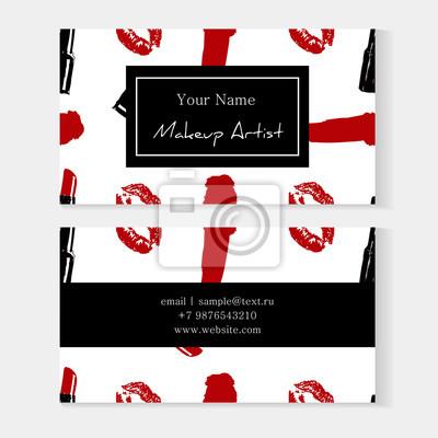 Sticker Ensemble De Modle Cartes Visite Artiste Maquillage Avec Cosmtiques Sans Soudure Fond