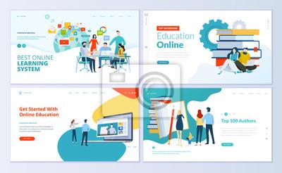 Sticker Ensemble de modèles de conception de pages Web pour l'e-learning, l'éducation en ligne, l'e-book. Notions d'illustration vectorielle moderne pour le développement de sites Web et de sites Web mobiles.