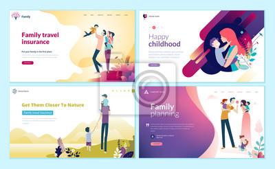 Sticker Ensemble de modèles de conception de pages Web pour la planification familiale, l'assurance voyage, la nature et la vie saine. Notions d'illustration vectorielle moderne pour le développement de sites
