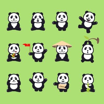 Sticker ensemble de pandas drôles de bande dessinée mignon. Vector illustration