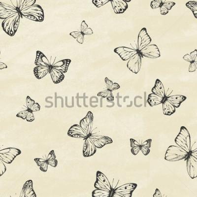 Sticker Ensemble de papillons dessinés à la main. Collection entomologique de papillons très détaillés dessinés à la main. Style vintage rétro. Modèle sans couture. Illustration vectorielle