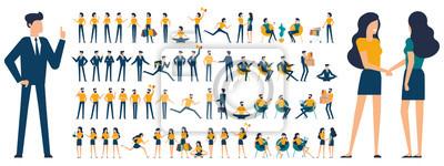 Sticker Ensemble de personnages de design plat et des poses