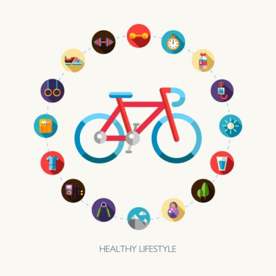 Sticker Ensemble de plates sport de conception, de fitness et des icônes de mode de vie sains