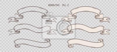 Sticker Ensemble de rubans dessinés à la main vintage sur le fond transparent sham. Collection d'étiquettes rétro, des bannières et des éléments du logo. Conception de logotype. Illustration vectorielle