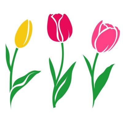 Sticker Ensemble de silhouette de tulipe colorée. Illustration vectorielle. Collection de fleurs décoratives
