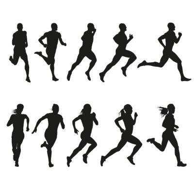 Sticker Ensemble de silhouettes d'hommes et de femmes qui dirigent