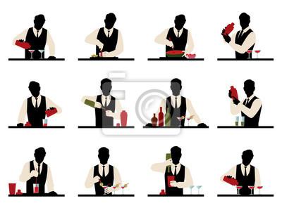 Sticker Ensemble de silhouettes de a barman préparer coquettes vecteur stoc