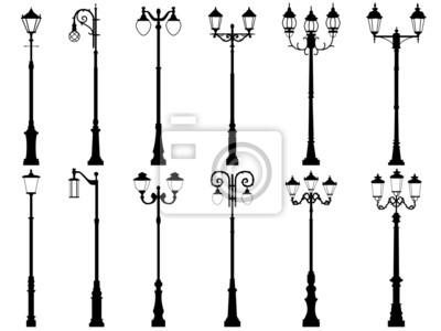 Sticker Ensemble de silhouettes de vecteur de lampadaire.