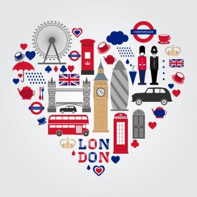 Sticker Ensemble de symboles London Hearth. Collection d'icônes au Royaume-Uni.