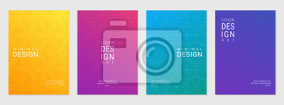 Sticker Ensemble de vecteurs de modèle de conception de la couverture avec des motifs géométriques minimales, dégradé de couleur différente moderne.